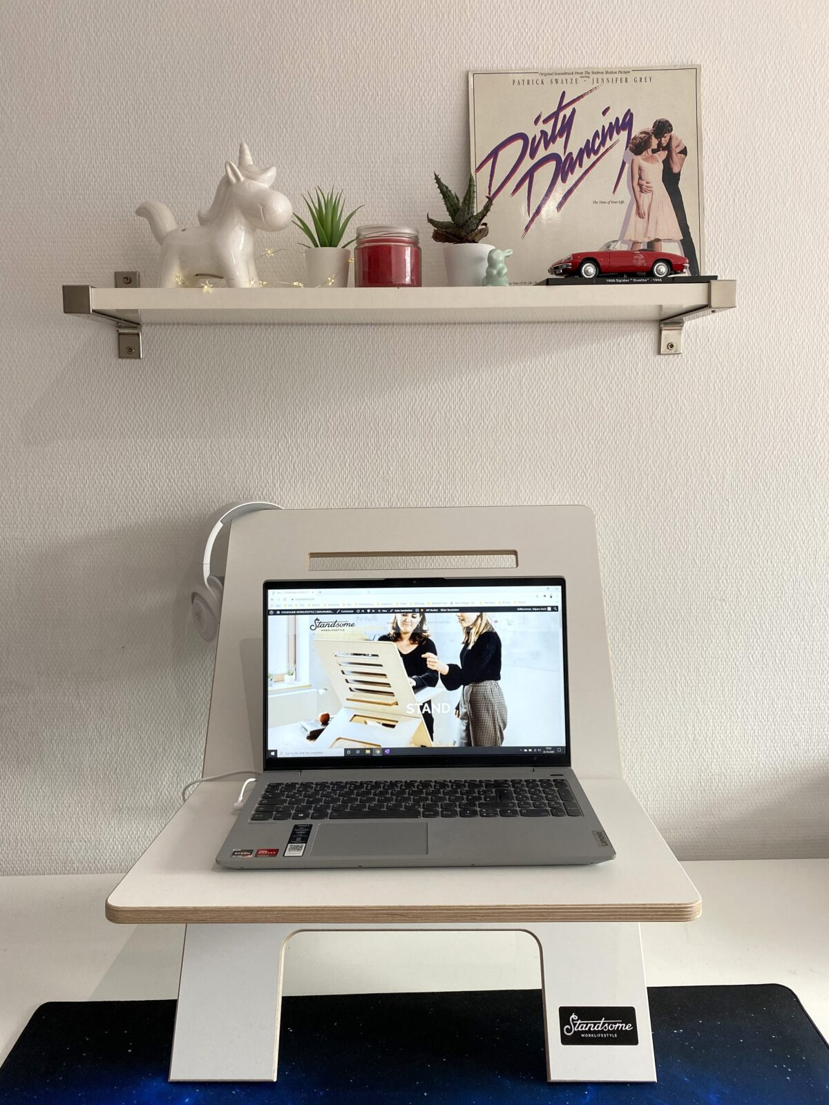 macbook air on white table