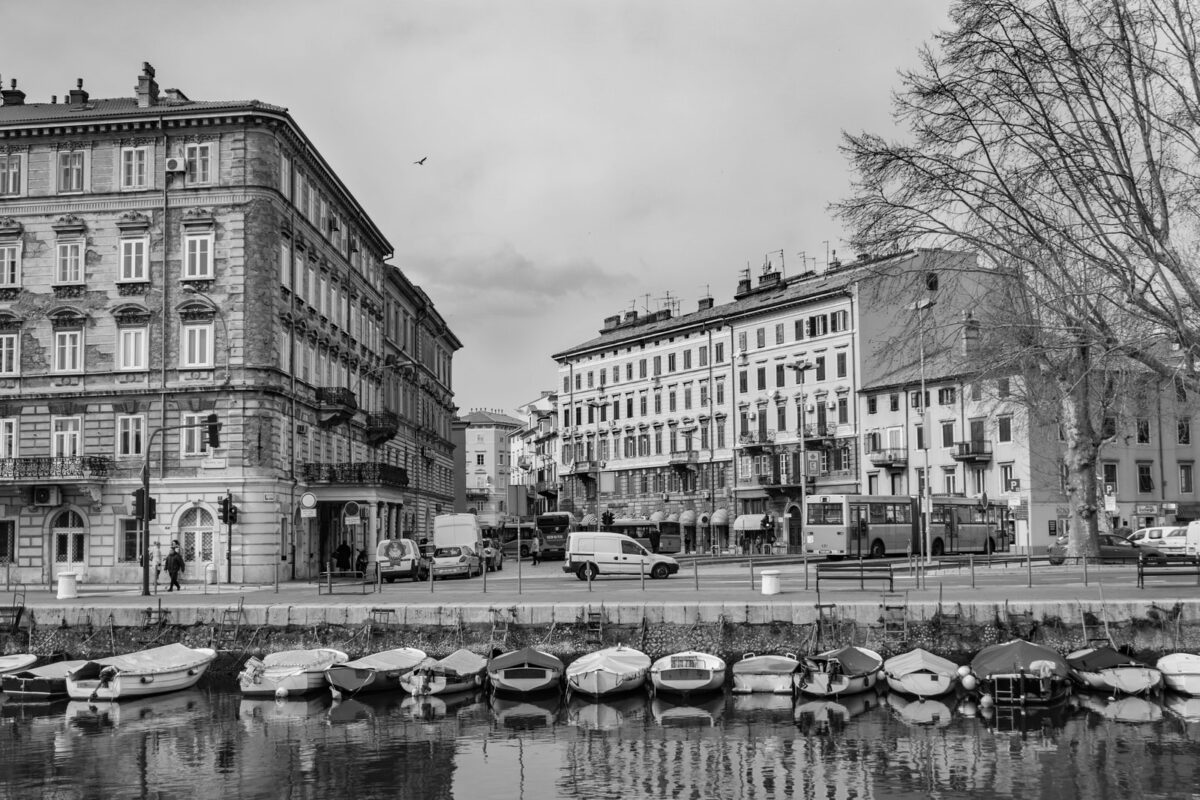 grayscale photo of buildings and boats
